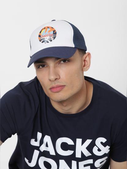 Blue Logo Print Trucker Cap
