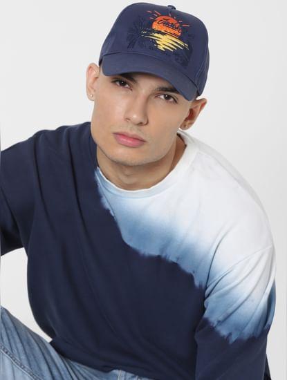 Blue Logo Print Baseball Cap