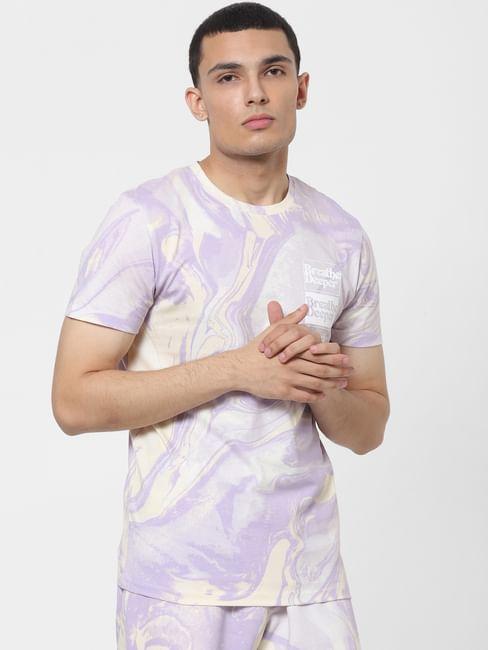 Purple Tie Dye Crew Neck T-shirt