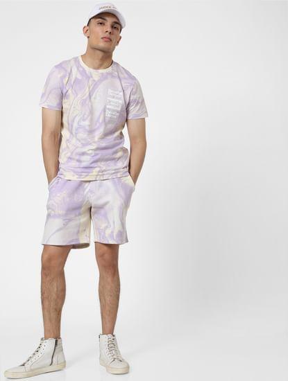 Purple Mid Rise Tie Dye Sweatshorts
