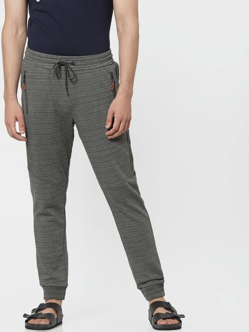 Olive Green Mid Rise Textured Sweatpants