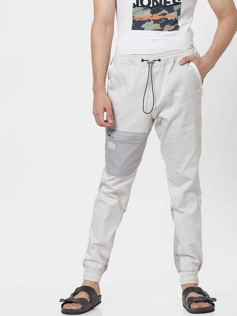 Grey Mid Rise Colourblocked Track Pants