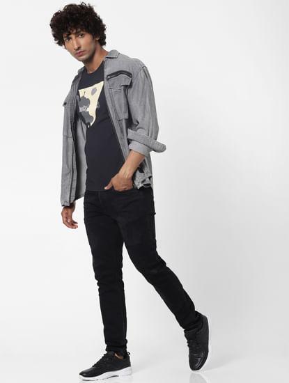 Black Mid Rise Glenn Slim Fit Jeans
