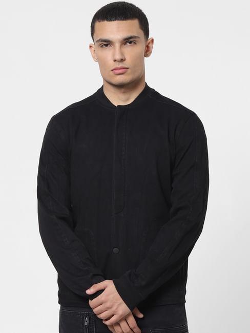 Black Front Open Denim Jacket