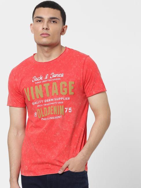 Red Acid Washed Logo Print Crew Neck T-shirt