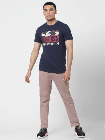 Light Pink Mid Rise Regular Fit Pants