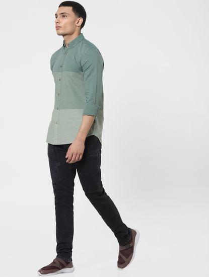 Green Colourblocked Full Sleeves Shirt