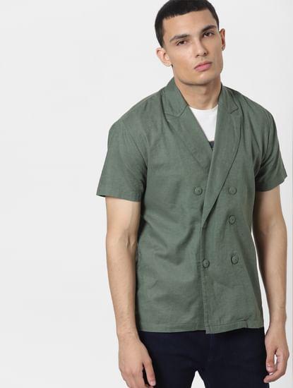 Green Lapel Linen Blend Short Sleeves Shirt