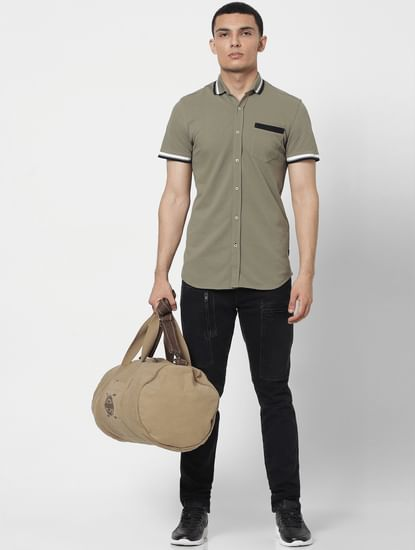Green Contrast Tipping Polo Neck Short Sleeves Shirt