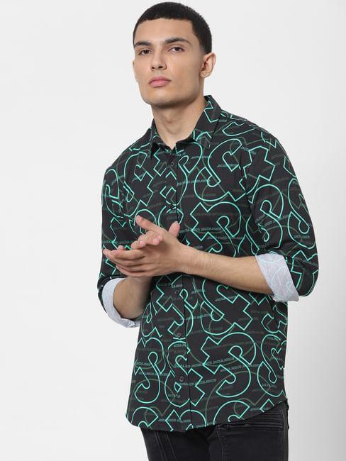 Green All Over Logo Print Full Sleeves Shirt
