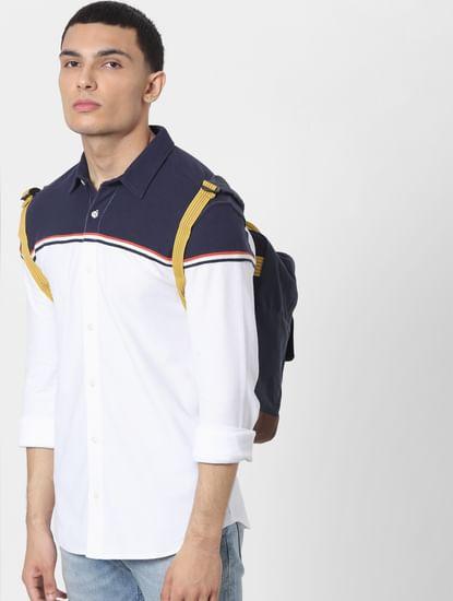 White Colourblocked Full Sleeves Shirt