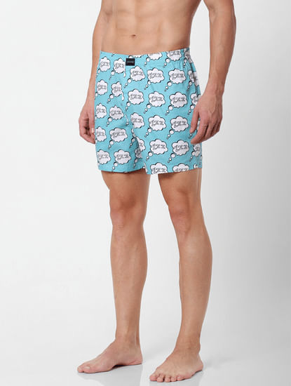 Blue Lazy Text Print Boxers