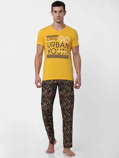 Yellow Text Print V Neck T-shirt