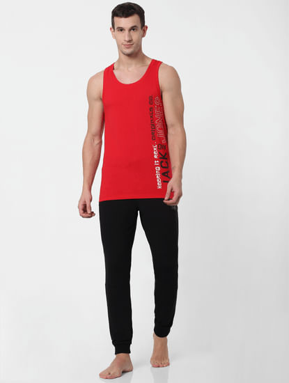 Red Logo Print Vest