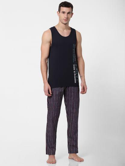 Navy Blue Striped Pyjama