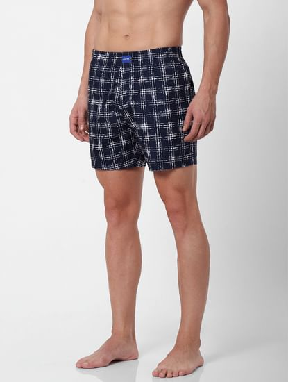 Navy Blue Check Boxers