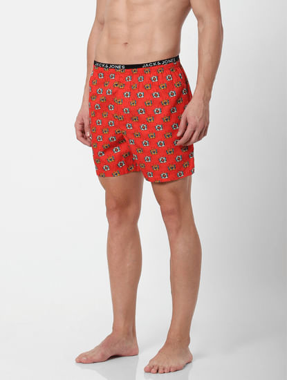 Red Television Print Boxers