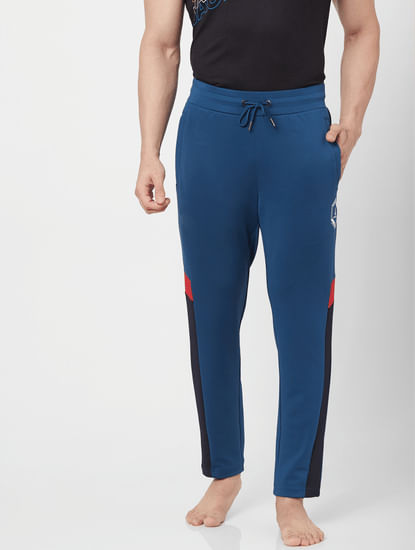 Blue Mid Rise Logo Print Sweatpants