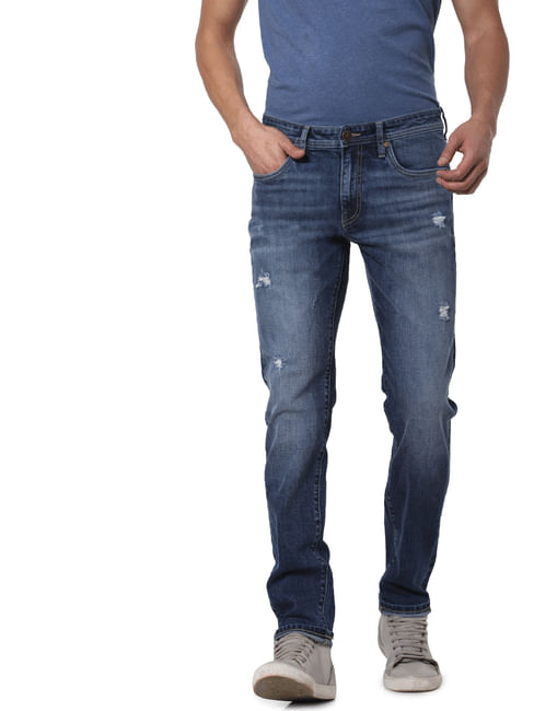 Blue Low Rise Ben Distressed Skinny Jeans