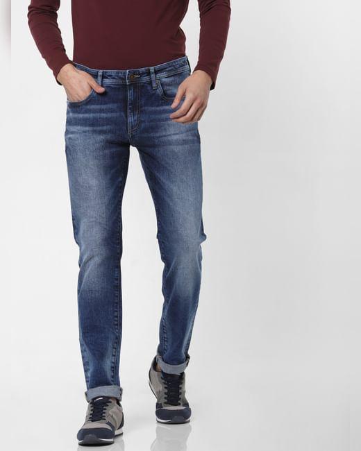 Dark Blue Low Rise Ben Washed Skinny Jeans