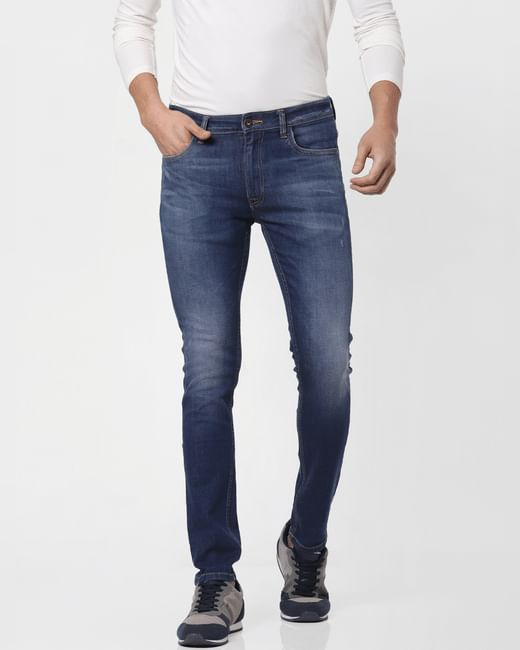 Dark Blue Low Rise Liam Washed Skinny Jeans