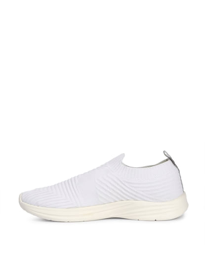 White Knit Slip Ons