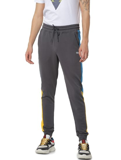 Grey Mid Rise Tape Detail Sweatpants