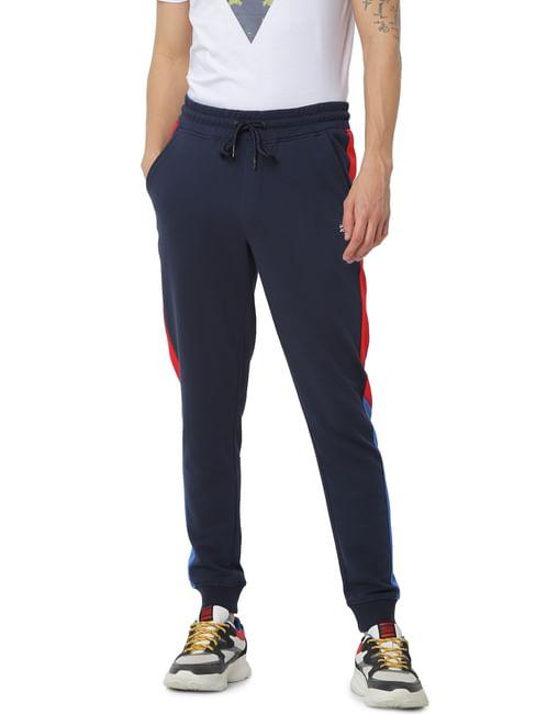 Navy Blue Mid Rise Tape Detail Sweatpants