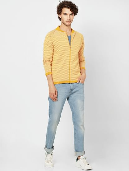Yellow Striped Zip Up Cardigan