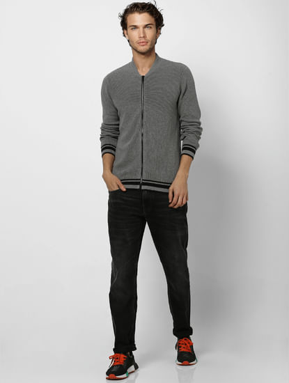 Grey Self Design Zip Up Cardigan