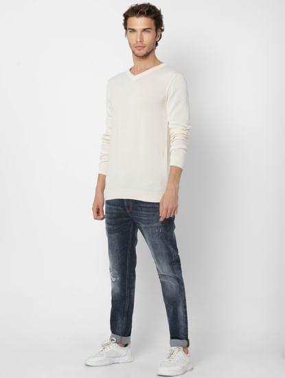 White V Neck Knit Pullover