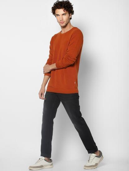 Brown Self Design Knit Pullover