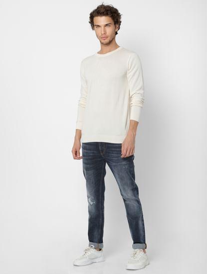 White Self Design Knit Pullover