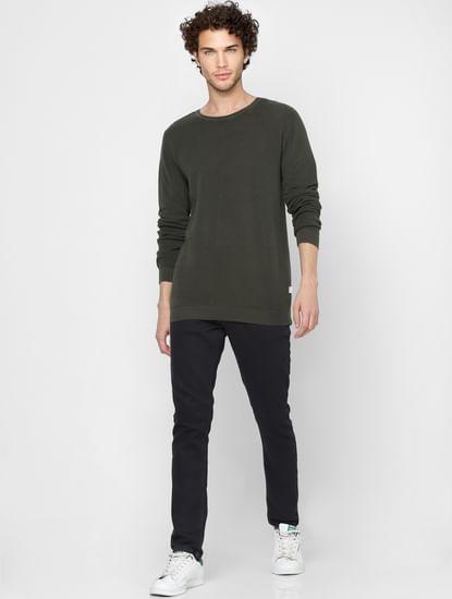 Green Self Design Knit Pullover