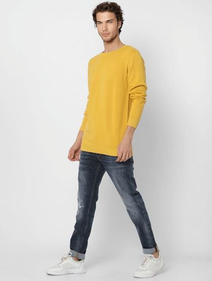 Yellow Self Design Knit Pullover