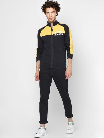 Black Colourblocked Zip Up Sweatshirt