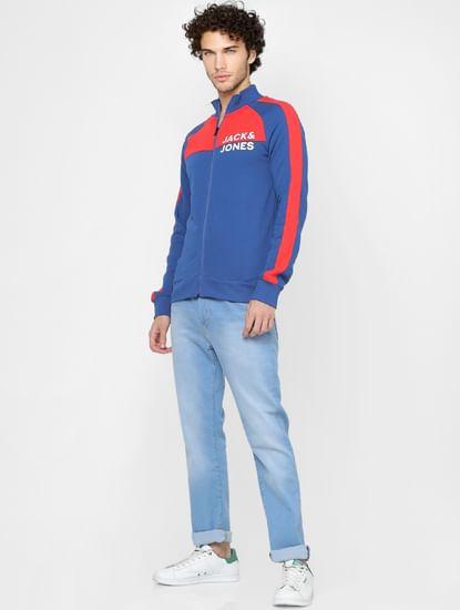 Blue Colourblocked Zip Up Sweatshirt
