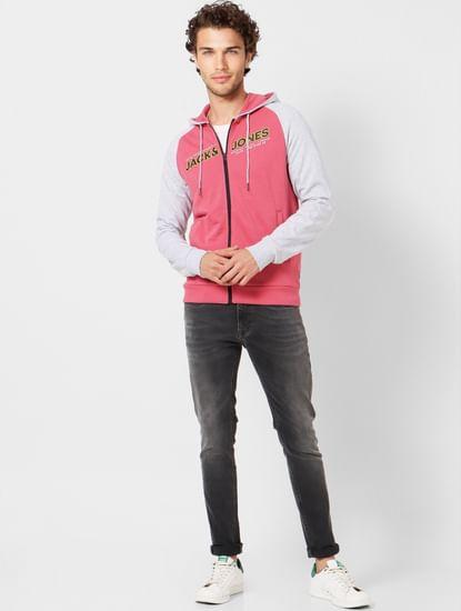 Pink Colourblocked Logo Print Hoodie