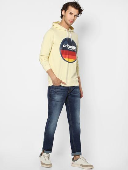 Yellow Logo Print Hooded Sweatshirt
