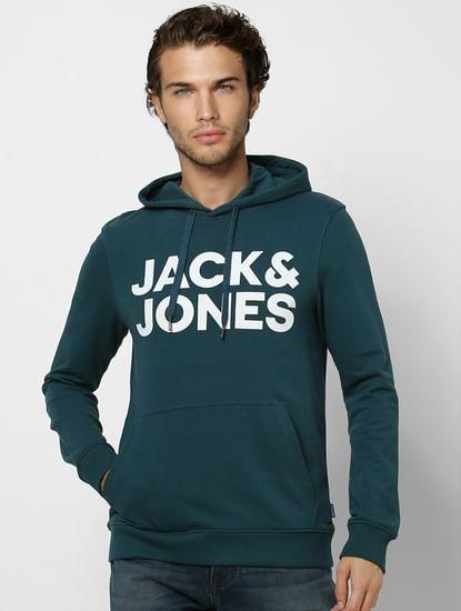 Green Hooded Logo Print Sweatshirt