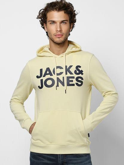 Yellow Hooded Logo Print Sweatshirt