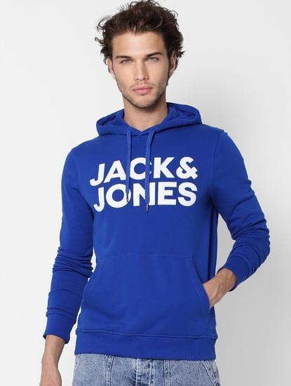 Blue Hooded Logo Print Sweatshirt
