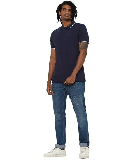 Dark Blue Contrast Tipping Polo Neck T-shirt