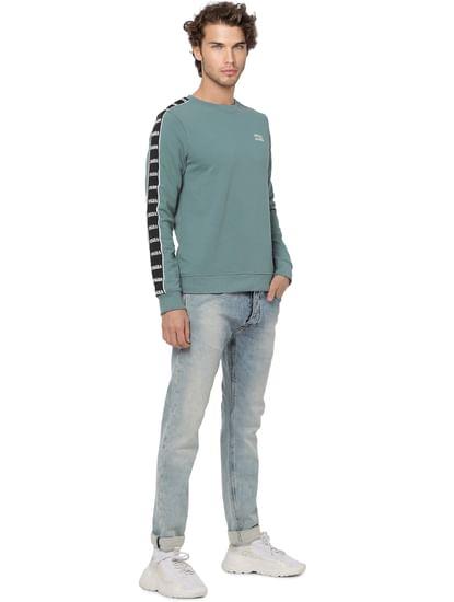 Green Tape Detail Sweatshirt