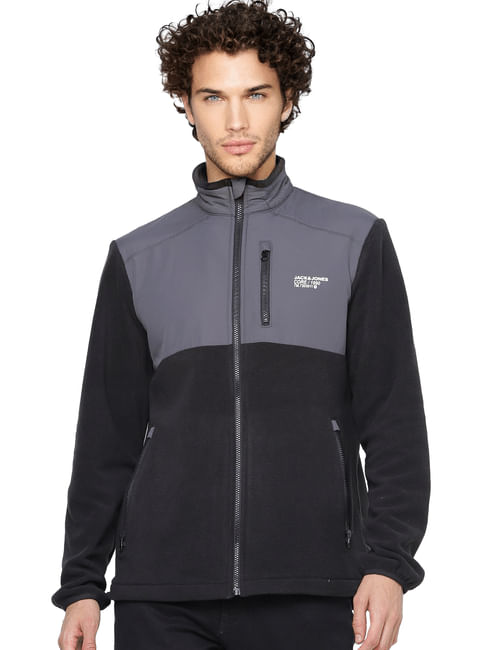 Black Colourblocked Fleece Jacket