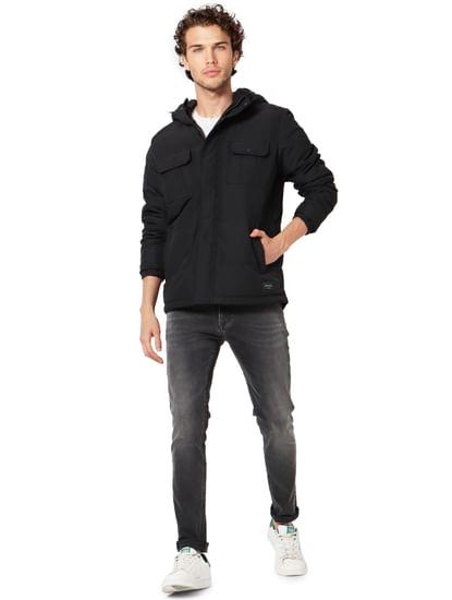 Black High Neck Hooded Jacket
