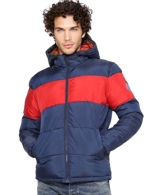 Blue Colourblocked Puffer Jacket