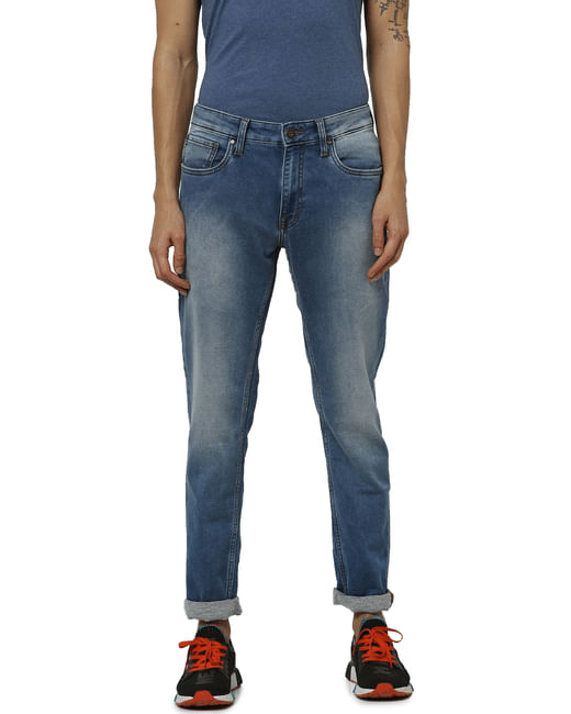 Blue Low Rise Ben Washed Skinny Fit Jeans
