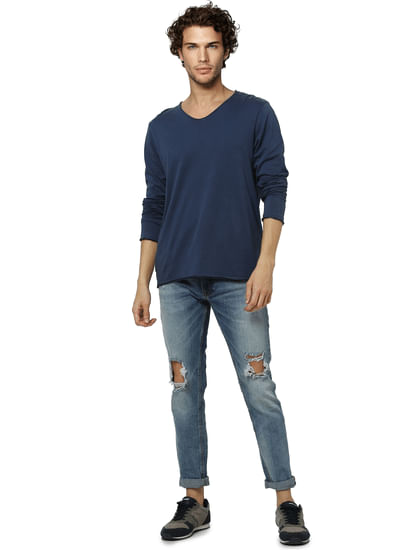 Light Blue Low Rise Ben Ripped Skinny Fit Jeans