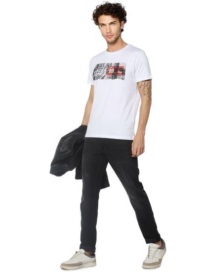 White Logo Print Crew Neck T-shirt